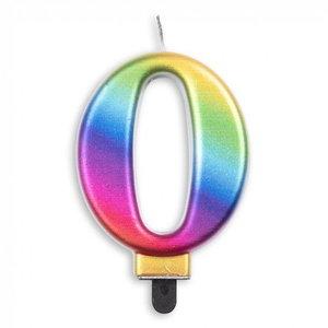Kaars 0 jaar regenboog luxe