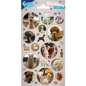 Stickers Alpaca met hartjes 30 stuks