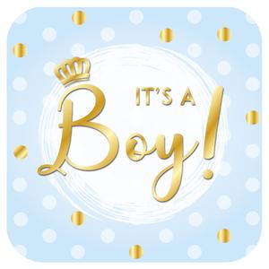 Deurbord It's a Boy met kroontje