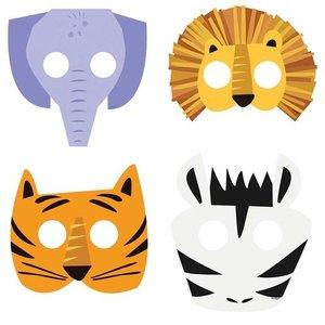 Maskers safari dieren kind 8 stuks