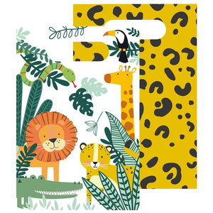 Uitdeelzakjes safari dieren papier 8 stuks