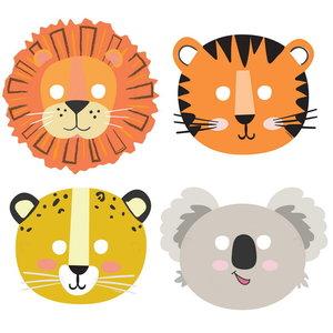 Maskers safari dieren get wild 8 stuks