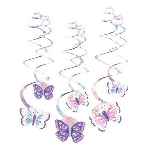 Hangdecoraties vlinders Swirls 6 stuks