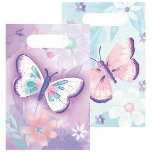 Uitdeelzakjes vlinders papier 8 stuks