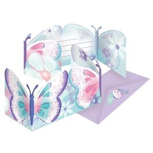 Uitnodigingskaartjes vlinders 8 stuks