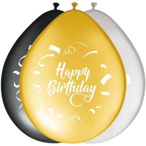 Ballonnen Happy Birthday goud zwart zilver