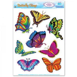 Raamdecoratie vlinders 8 stuks