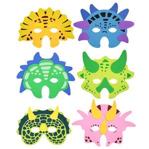 Maskers Dinosaurus NEON 6 stuks