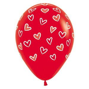 Ballonnen rood met hartjes 6 stuks