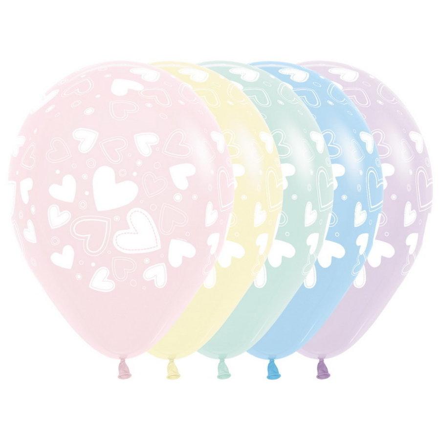 Ballonnen met hartjes PASTEL 6 stuks