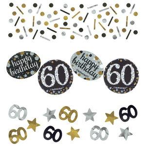 Confetti 60 jaar goud zilver zwart happy birthday