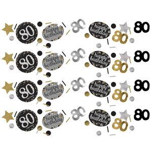 Confetti 80 jaar goud zilver zwart happy birthday