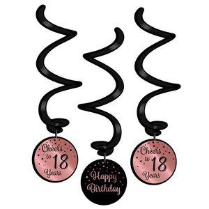 Hangdecoratie 18 jaar rosé zwart 3 stuks