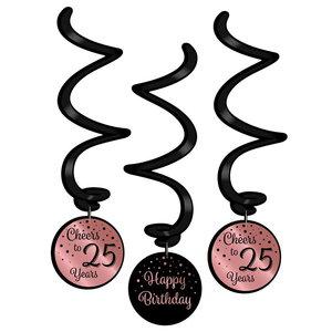 Hangdecoratie 25 jaar rosé zwart 3 stuks