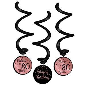 Hangdecoratie 80 jaar rosé zwart 3 stuks
