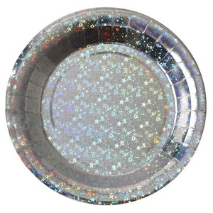 Bordjes zilverkleurig sparkle 10 stuks