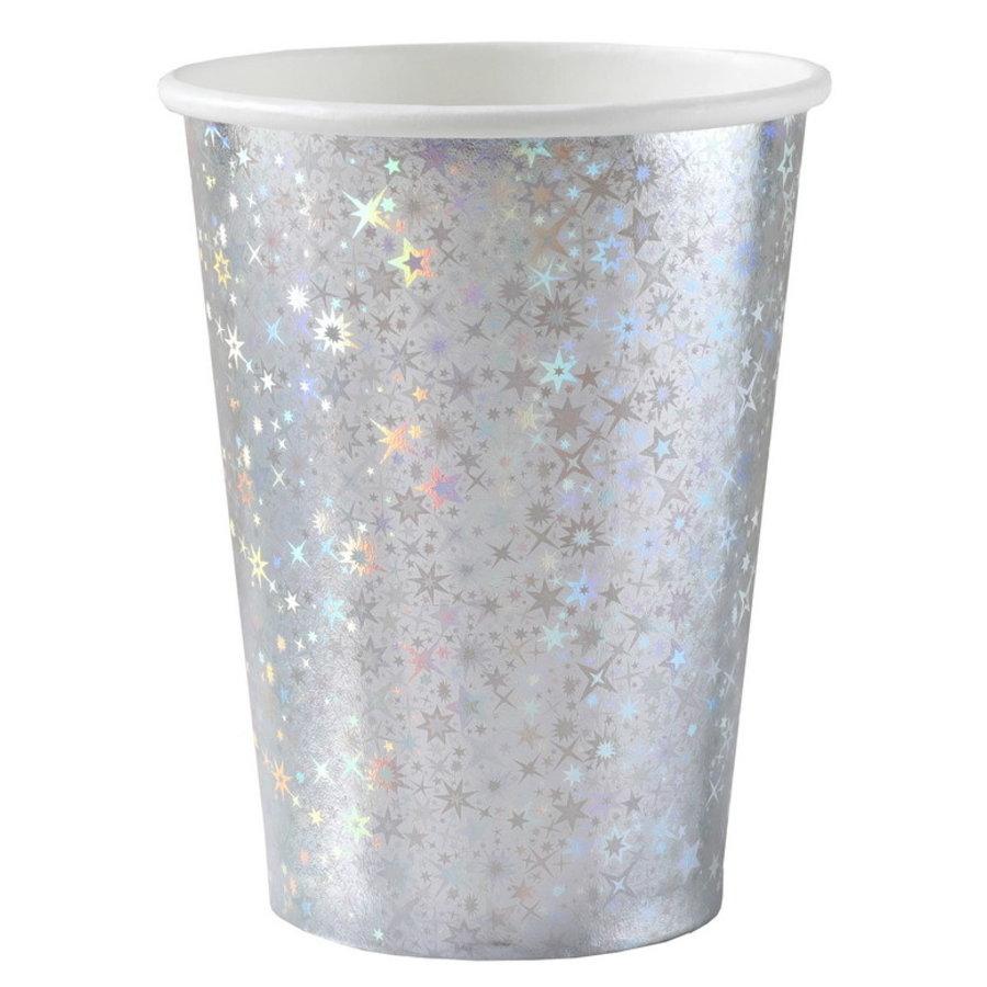 Bekertjes zilverkleurig sparkle 10 stuks