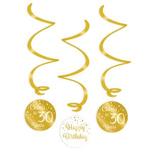 Hangdecoratie 30 jaar goud wit 3 stuks