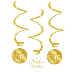 Hangdecoratie 40 jaar goud wit 3 stuks