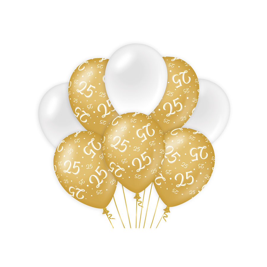 Ballonnen 25 jaar goud wit 8 stuks