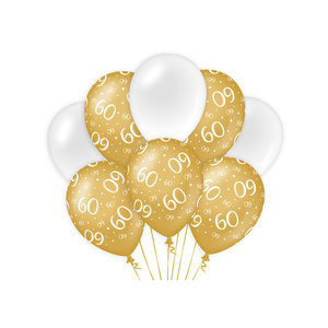 Ballonnen 60 jaar goud wit 8 stuks