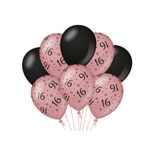 Ballonnen 16 jaar rosé zwart 8 stuks