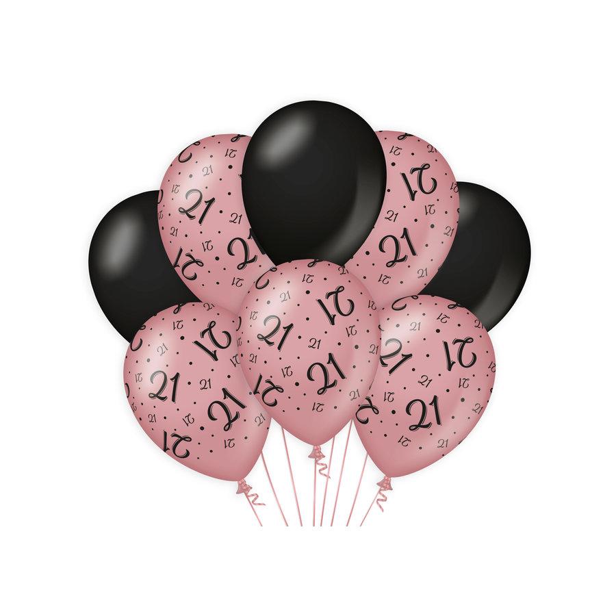 Ballonnen 21 jaar rosé zwart 8 stuks