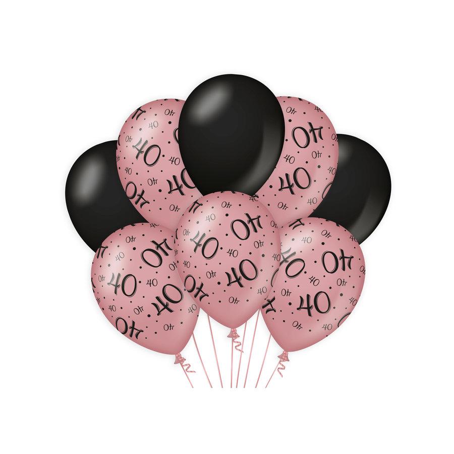 Ballonnen 40 jaar rosé zwart 8 stuks