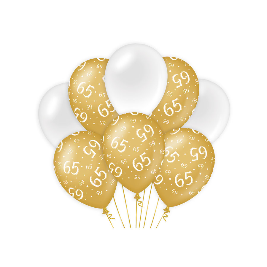 Ballonnen 65 jaar goud wit 8 stuks