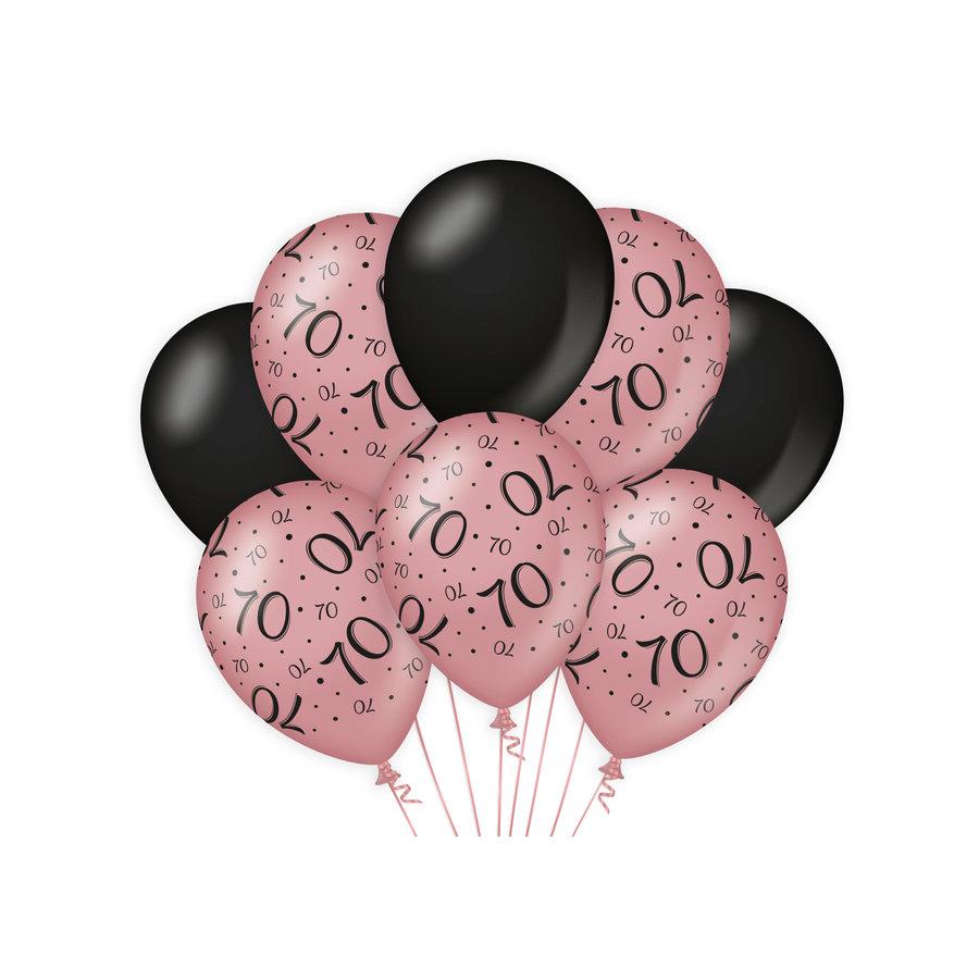 Ballonnen 70 jaar rosé zwart 8 stuks