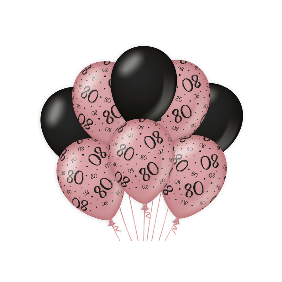 Ballonnen 80 jaar rosé zwart 8 stuks