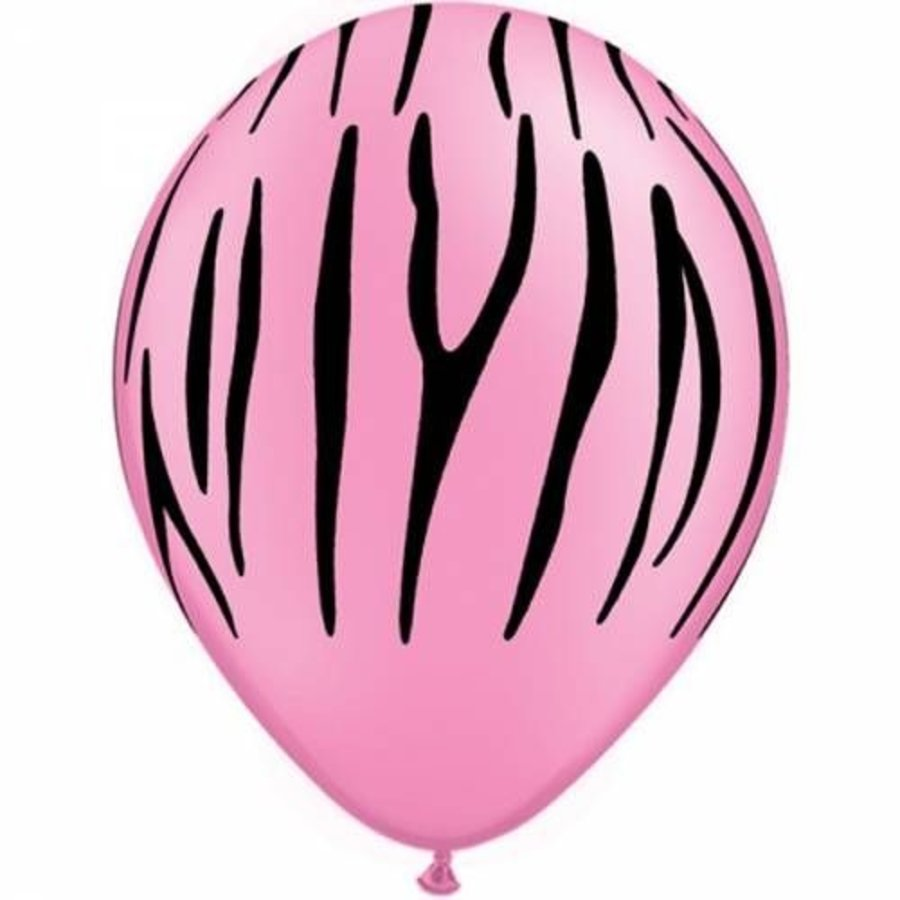Ballonnen zebra neon pink 6 stuks