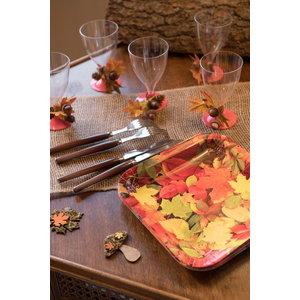 Bordjes met herfstbladeren vierkant 10 stuks