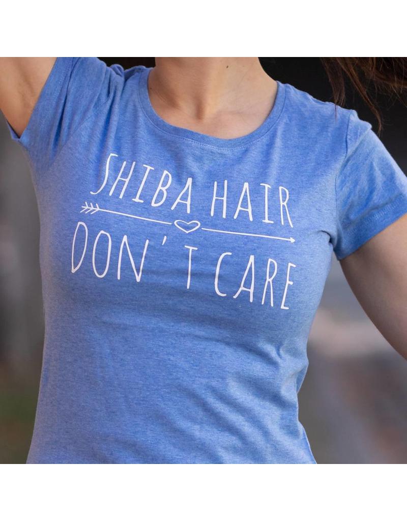 Shiba Hair Dont Care T Shirt Dames Blauw Shiba Boutique
