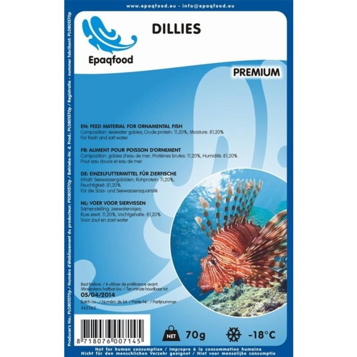Dillies - Kleine Zeebodemvisjes 2,5 - 4,5 cm