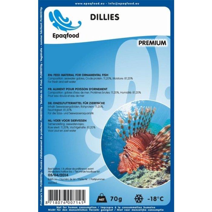 Dillies -petit poisson des fonds marins 2,5 - 4,5 cm