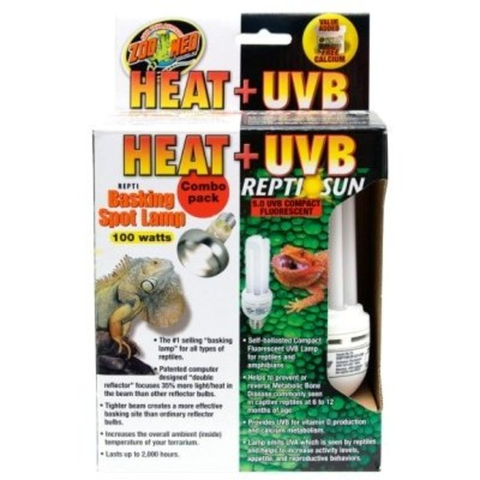 Heat & UVB Combo Pack (Basking 100W. + Compact 5.0)