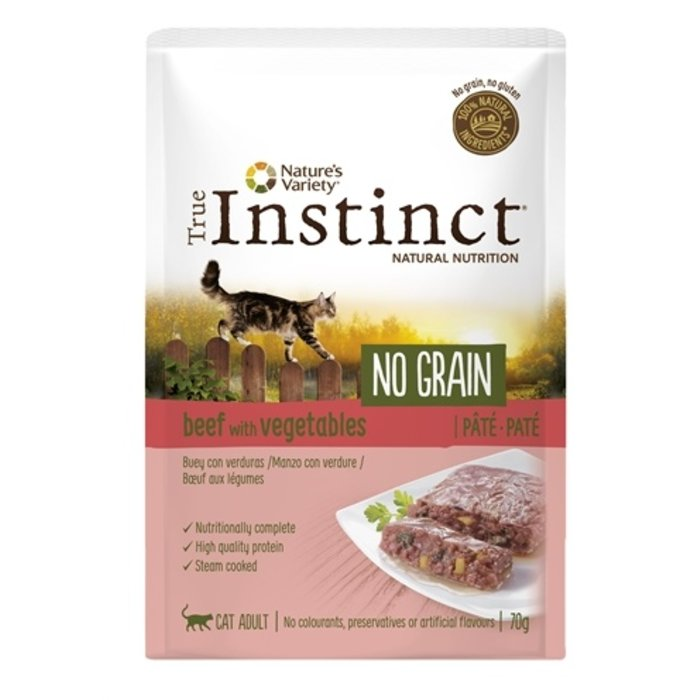 True instinct pouch no grain adult beef pate