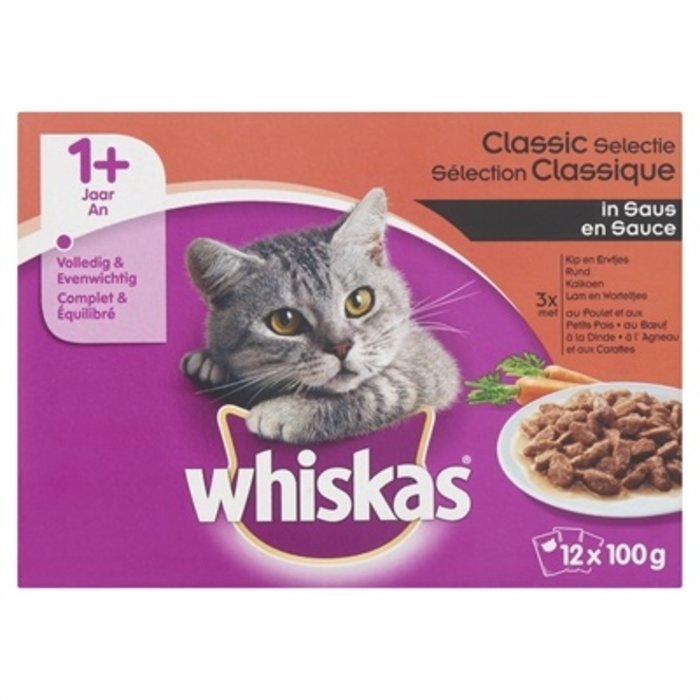 4x whiskas multipack pouch adult classic selectie vlees in gelei