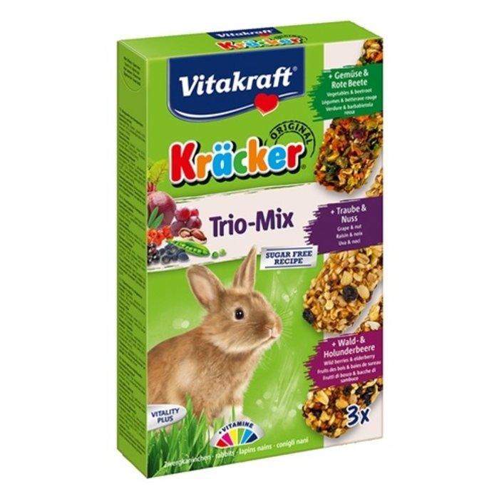 Vitakraft dwergkonijn krackers noot/bosvruchten/groenten
