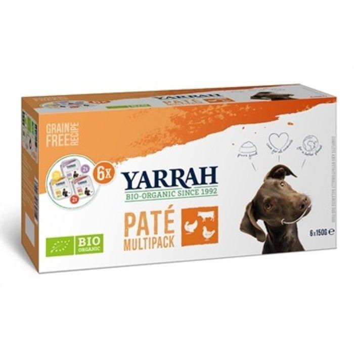 Yarrah organic hond multipack pate kalkoen / kip / rund