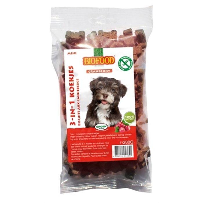 Biofood 3 in 1 hondenkoekjes met cranberry mini