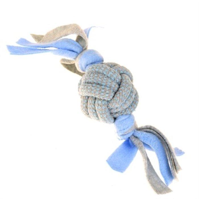 Little rascals touwbal tugger met fleece blauw