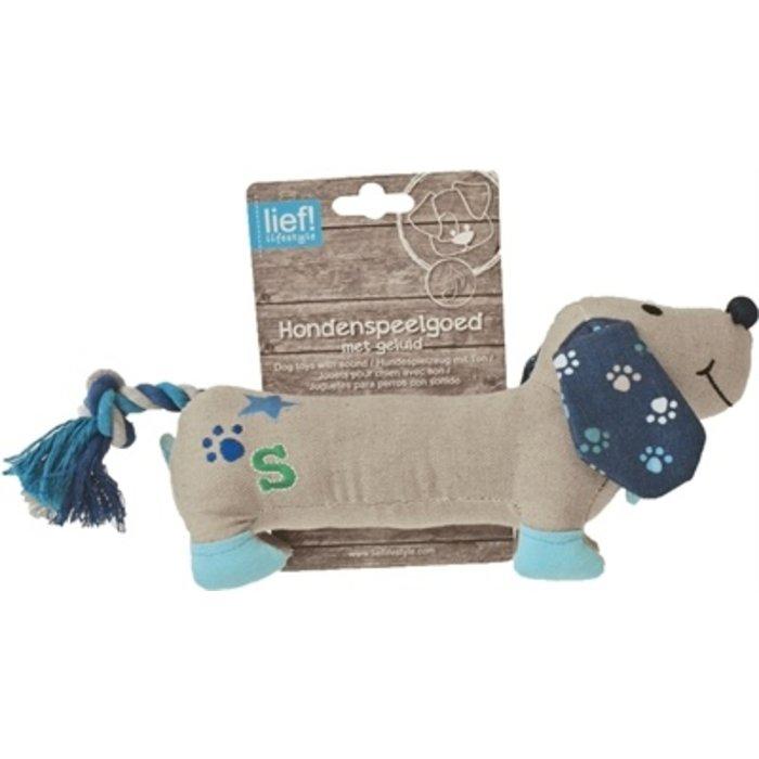 Lief! hondenspeelgoed canvas teckel met piep boys blauw