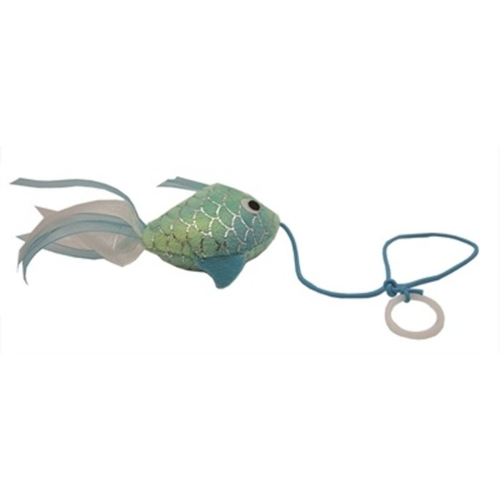 Happy pet mermaid goudvis aan touw blauw