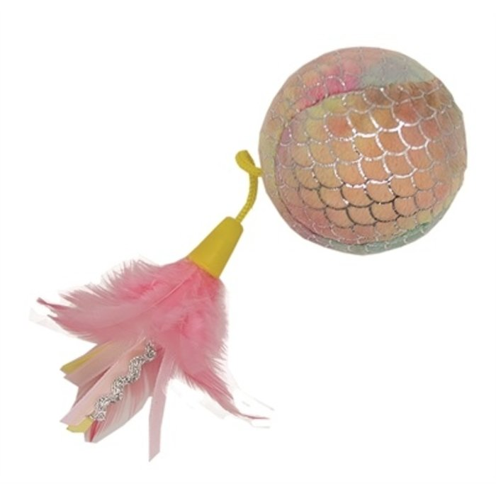 Happy pet mermaid bal groot met veren roze