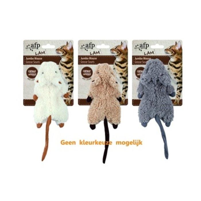 Afp jumbo muis crinkle lamswol met catnip assorti