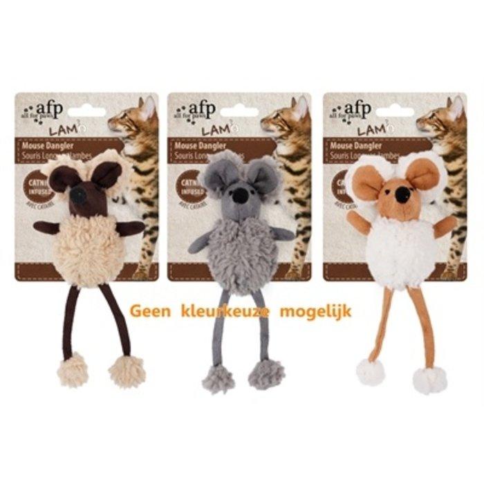 Afp mouse dangler lamswol met catnip assorti