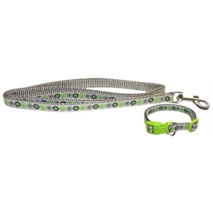 Little rascals puppy halsband met lijn groen