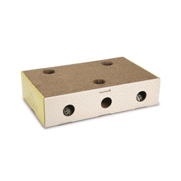 Beeztees kitten krabplank box riva geel / wit